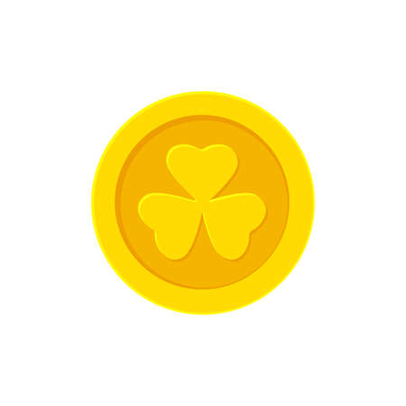 Golden coin with Clover. Vector flat illustration