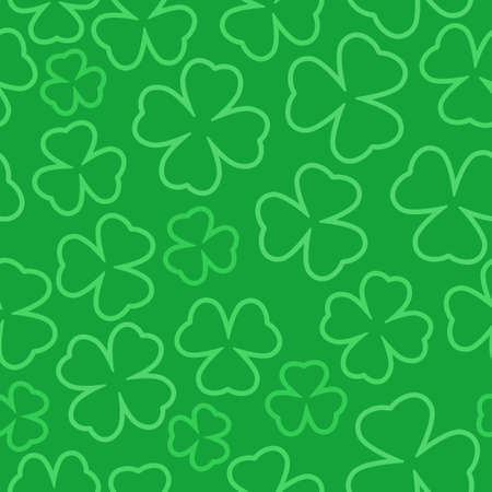 Clover outline seamless pattern. St. Patrick day Illustration