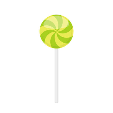.Lollipop candy with green curved rays pattern. Vector illustration isolated on white background