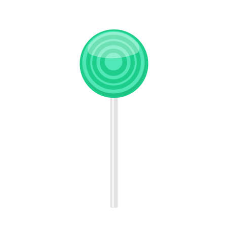 .Lollipop candy with turquoise rings pattern. Vector illustration isolated on white background Illustration