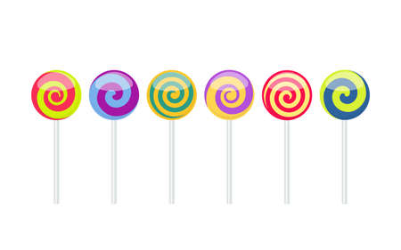 Set of colorful lollipop sweet candies isolated