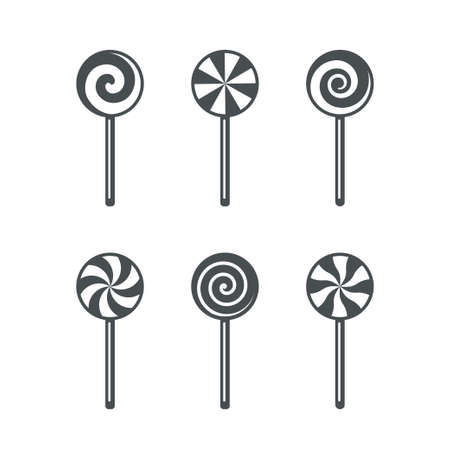 Set of lollipop candy outline icons isolated Ilustração
