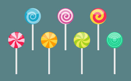 Set of lollipops with spiral and ray patterns