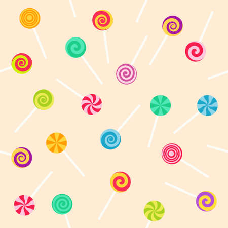 Seamless pattern with lollipop sweet candies