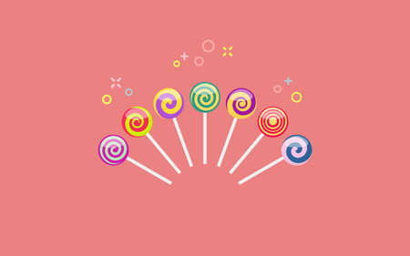 .Set of colorful lollipop sweet candies with various spiral patterns. Vector illustration on coral background