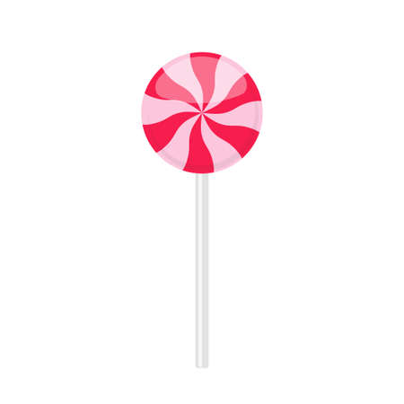 Lollipop candy with red twisted rays pattern
