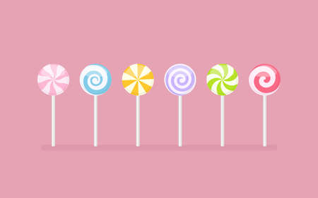 Set of pastel colored lollipop sweet candies