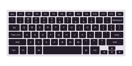 Laptop qwerty keyboard with black key buttons