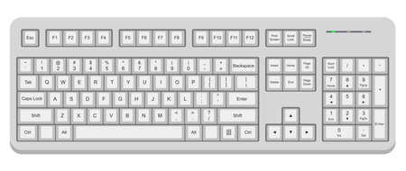 White computer qwerty keyboard isolated on white 일러스트