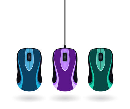 Set of colorful computer mice isolated on white