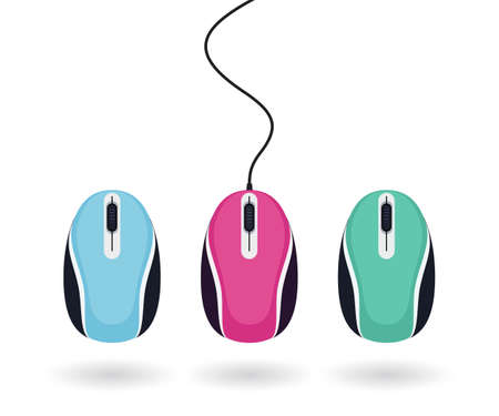 Set of bright colored computer mice isolated