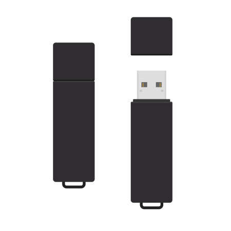 .Black rectangle USB flash drive with open and closed cover cap. Simple flat vector illustration isolated on white background Ilustração