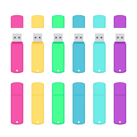 Rounded USB flash drives colorful set Ilustração