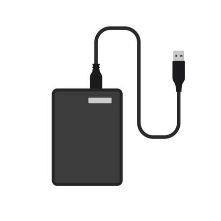 External hard disk drive with USB cable 일러스트