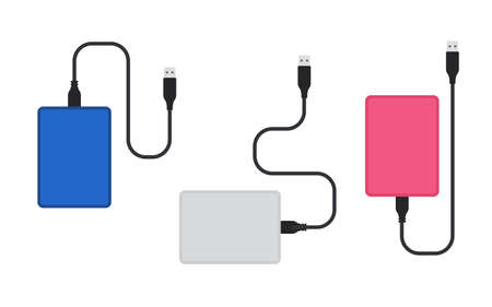 External hard disk drive with USB cable color set Ilustração