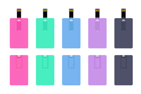 Set of colorful wafer USB flash cards isolated