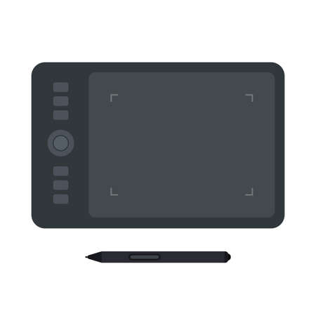 Digitizer graphic tablet with stylus flat icon 일러스트