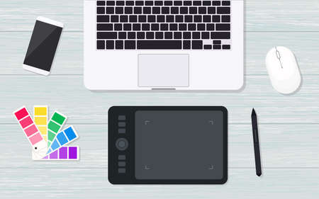 Top view designer workplace with graphic tablet Ilustração