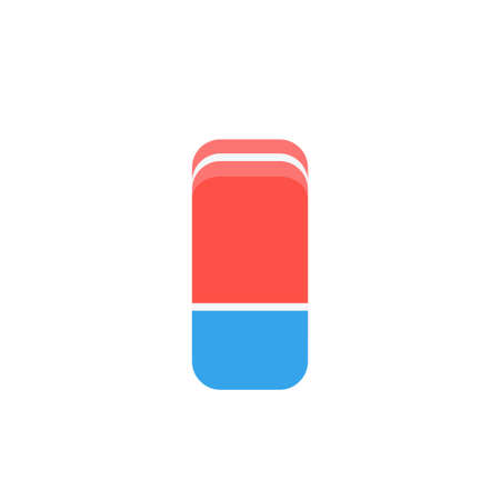 Cartoon blue and red eraser flat icon