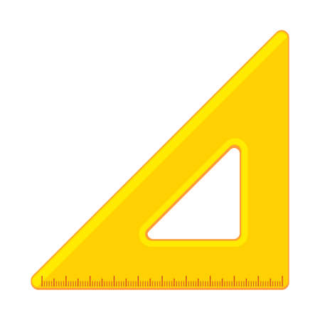 Cartoon yellow triangle ruler flat icon
