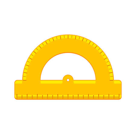Cartoon yellow protractor ruler flat icon Standard-Bild - 153951066