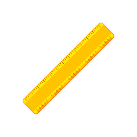 Cartoon yellow ruler flat icon