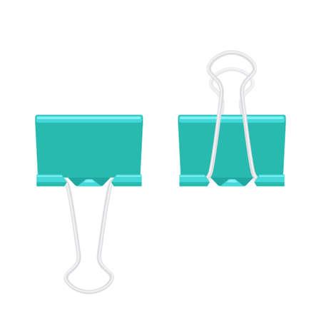 Paper binder clip fastener folded and unfolded 向量圖像
