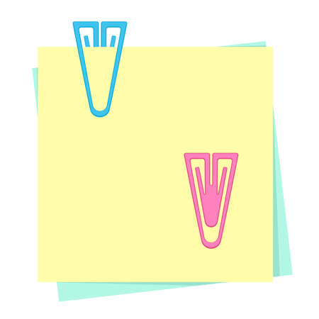 Colored paper notes with plastic paper clips Ilustração