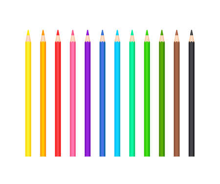 Set of colored sharpened pencils of 12 colors