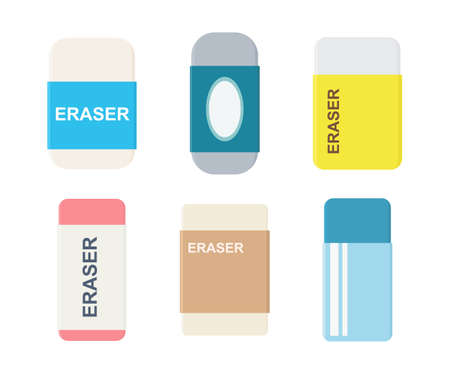 Set of erasers with sliding sleeves