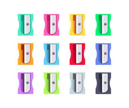 Colorful plastic pencil sharpeners set 向量圖像