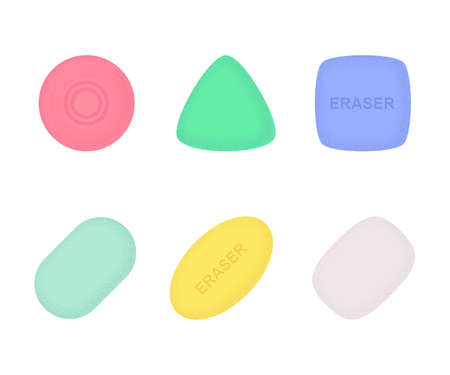 Erasers of various shapes and colors with texture 일러스트