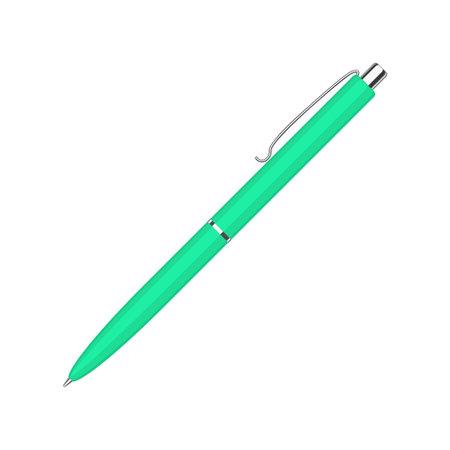 Automatic spring ballpoint pen in green case 矢量图像