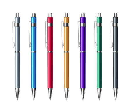 Set of colorful metallic spring ballpoint pens