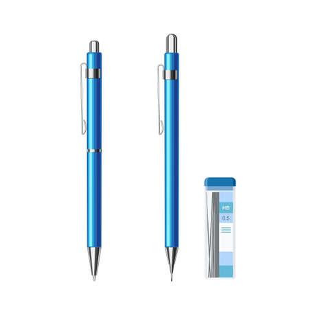 Ballpoint pen and mechanical pencil blue metallic