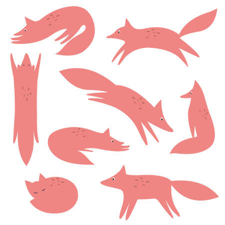 reiteration: Stylized fox. Vector collection for your design Illustration