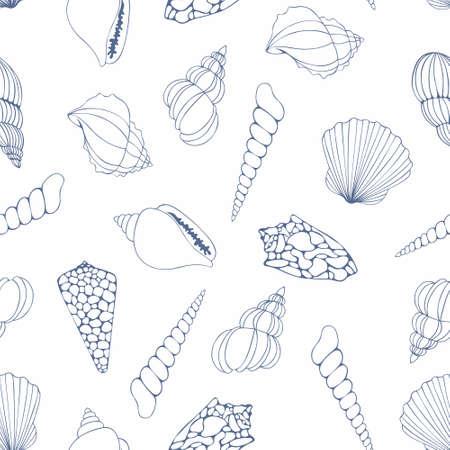 reiteration: Seashells pattern on a white background