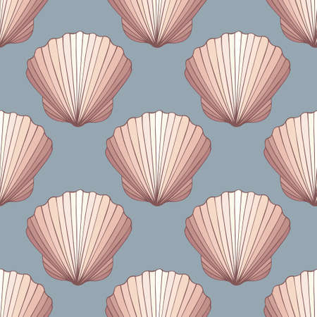 reiteration: Seashells. Decorative seamless vector background for design