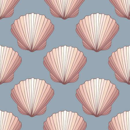 Seashells. Decorative seamless vector background for design