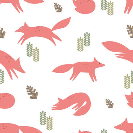 reiteration: Foxes. Seamless vector background. Stylization in the style of the cartoon. Pattern for the design of childrens things and textiles, wallpaper Illustration