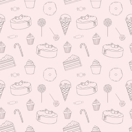 catalogs: Sweets. Vector seamless pattern for design and decoration of packaging paper, textiles, menus, covers, catalogs, packaging and web design Illustration