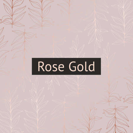 Delicate vector pattern with branches with imitation of rose gold for the design of invitations and postcards 스톡 콘텐츠
