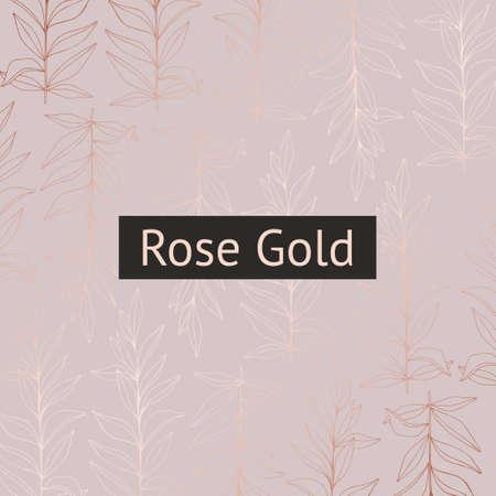 Motif vectoriel délicat avec des branches avec imitation d'or rose pour la conception d'invitations et de cartes postales