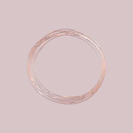 Round frame. Vector illustration with imitation of rose gold. Hand drawing for the design of cards, invitations, covers 版權商用圖片