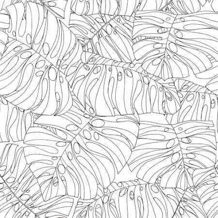 Vector black and white seamless pattern with tropical leaves for design
