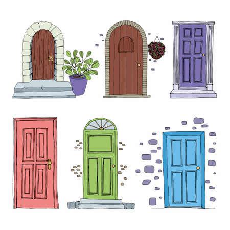 Doors. Set of vector decorative illustrations. Hand drawing 版權商用圖片