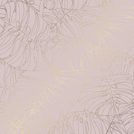 Decorative background with tropical leaves and imitation of rose gold for the design of invitations and postcards 版權商用圖片