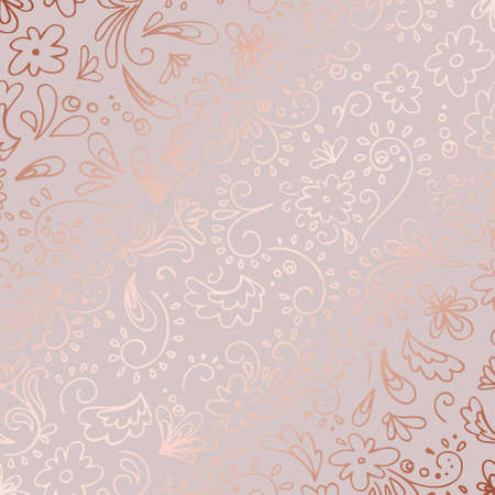 Decorative vector pattern with rose gold imitation for design of invitations, cards, covers