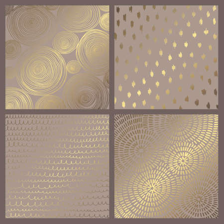 Set of elegant vector backgrounds with gold imitation for design and decoration of cards and invitations