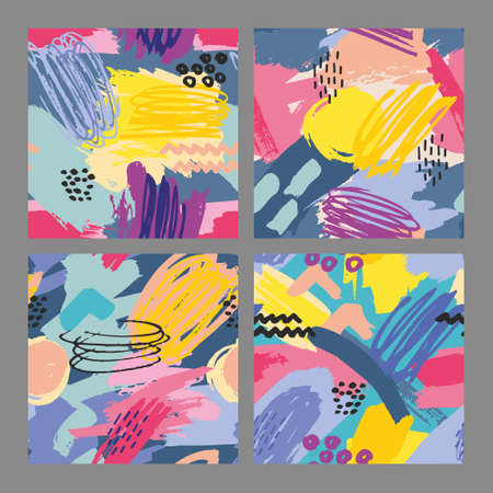 Set of vector seamless patterns with brush strokes. Colorful hand drawing